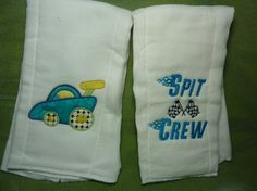 Racing car burp cloth set 2 by 4my4creations on Etsy, $8.00