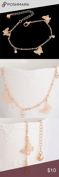 "Butterfly Anklet Pretty gold plated zinc alloy anklet. This can clasp anywhere from 7"" to 9.5"". Can also be worn as a bracelet but the smallest it can clasp is 7"". New in package. Jewelry"