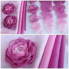 Simply cut petals out of synthetic fabric (ie. Easy Fabric Flowers, Fabric Flower Pins, Fabric Flower Tutorial, Cloth Flowers, Paper Flowers Diy, Handmade Flowers, Organza Flowers, Rose Tutorial, Fabric Roses