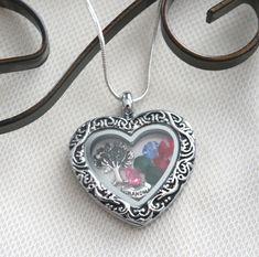 Heart Locket, Birthstone Locket, Grandma Gifts, Family Tree Necklace, Mimi Necklace, Nana Necklace, Mom Gifts, 1 2 3 4 5 6 Birthstones