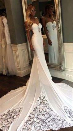 Elegant Floor Length Spaghetti Straps Sweetheart Wedding Dress Open Back Wedding Dress with Cathedral Train