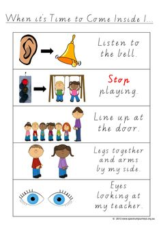 Time To Come Inside. A poster explaining what to do when outside time is over and it is time to come inside. Designed to be displayed next the external classroom door, so children, especially those with Autism, have a constant visual reminder of what is expected. FREE Download.