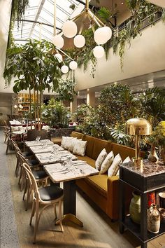 Stunning restaurant design with plants / hospitality / restaurant interior design / hospitality design / #hospitalitydesign / #hospitality / #hospitalityfurniture Find more inspiration: http://brabbucontract.com/projects #restaurantdesign
