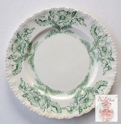 Scalloped Vintage Green Transferware Dinner Platel w/ Lovely Poppy Flo