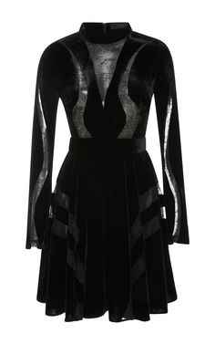 Velvet Dress with Lace Inserts by ELIE SAAB for Preorder on Moda Operandi