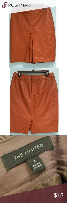 The limited tan leather pencil skirt Very form fitting leather skirt. In good condition. The Limited Skirts Pencil