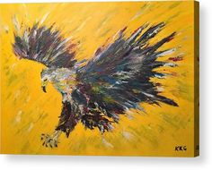"African Fish Eagle: An acrylic painting of an African Fish Eagle printed on the back of a 1/4"" thick acrylic sheet to produce a high gloss effect by Kelly Goss Art. Delivered ""ready to hang"" with two mounting options. Perfect to brighten up and decorate your home. Fit for any wall in any room. The special gift to spice up a friend's home decor. For a lover of animals, African wildlife and bird art."