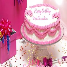 Write Your Name On Lovely Pink Flower Birthday Cake.