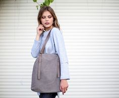 Canvas Totes – Handmade Fabric Tote Bag, Canvas Tote with Leather – a unique product by Cyan-Bags on DaWanda