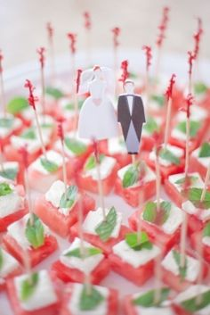 Delicious watermelon, feta and mint appetizers | Sweet and Chic Blush Pink Bridal Shower from Bridal Musings, Photography by Jamie Lefkowitz Photography via Lover.ly