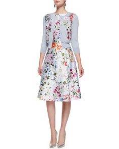 -5G99 Oscar de la Renta 3/4-Sleeve Floral Embroidered Cardigan & Floral A-Line Dress with Self Belt