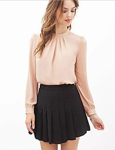 Mujer Simple Formal Otoño Blusa,Escote Redondo Un Color Manga Larga Rosa Negro Transparente