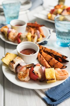 Grilled Mixed Seafood Kabobs with Old Bay Sweet Potato Wedges