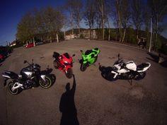suzuki GSX 1300 B-King, Honda CBR 600-R, Kawasaki Ninja 600 y Suzuki SV, Grado, Asturias