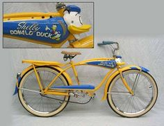 shelby donald duck bike with quacking horn Old Bicycle, Bicycle Women, Old Bikes, Vintage Cycles, Vintage Bikes, Vintage Toys, Velo Beach Cruiser, Cruiser Bicycle, Recumbent Bicycle