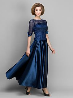 Lanting Bride A-line Mother of the Bride Dress Ankle-length Half Sleeve Satin… Mob Dresses, Satin Dresses, Dresses For Sale, Dresses Online, Lace Dress, Gowns, Moda Country, Groom Outfit, Groom Dress