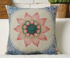 Blue Pillow, Chinese Oriental Cushion Cover, Floral Pillow, Lotus Pillow,Decorative Cotton Linen Cushion Case, Throw Pillow Case, by puresupply on Etsy https://www.etsy.com/listing/237467530/blue-pillow-chinese-oriental-cushion