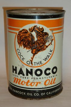 Nice Old Litho Rare Hanoco 1Qt. Motor Oil Advertising Tin Can Garage Rooster