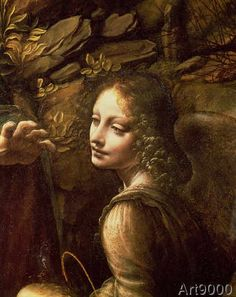 Leonardo da Vinci - The Virgin of the Rocks detail of the angel, c.1508 (detail of 28916)