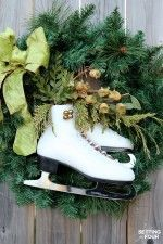 Learn how to make this easy, beautiful DIY ice skate wreath to add festive decor to your home for Christmas and winter! Adds curb appeal to your front door for the holidays!