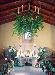lush greenery and candles