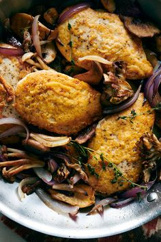 Crispy Frico Chicken Breasts With Mushrooms and Thyme Recipe - NYT Cooking Nytimes Recipes, Cooking Recipes, Healthy Recipes, Turkey Recipes, Chicken Recipes, Dinner Recipes, Thyme Recipes, Stuffed Mushrooms, Stuffed Peppers
