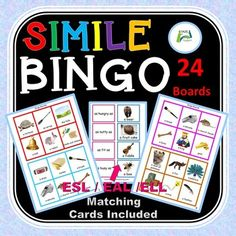 Simile Bingo is a fun interesting way of developing vocabulary and learning some of the common clichéd similes. Being more aware of this method of enhancing descriptive writing encourages students to think in a more creative way and motivates students to make up their own similes when writing. As a ... English Language Learners, Language Arts, Esl Resources, Middle School English, Simile, Mentor Texts, Matching Cards, Student Motivation, Figurative Language