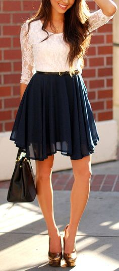 Navy blue chiffon skirt- love the shoes too