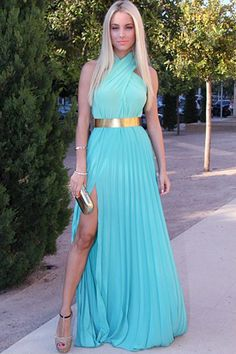 Blue Halterneck Sleeveless Pleating Maxi Dress