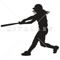 Sports Clipart Image of Girls Softball Silhouette Batting Graphic
