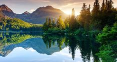 Photographic Print: Mountain Lake in National Park High Tatra. Beauty World. by Leonid Tit : All Nature, Nature Images, Sunrise Mountain, Photo Wallpaper, Lake View, Outdoor Fun, Outdoor Stuff, Beautiful Places, Nature