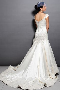 White off the shoulder wedding gown. Click the picture to purchase.
