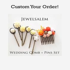 Custom Wedding Hair Accessories Bridal Hair Comb for Bride Flower Customized Hair Pins Modern Floral Headpiece Personalized Bridesmaid Gift by Jewelsalem
