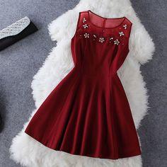 e1a46f36a76 Sexy Organza Flowers Diamond Stitching Sleeveless Dress