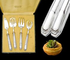 Vintage 20th century French sterling silver 4pc hors d'oeuvre serving implement set comprising of a knife, flat server, 3-tine fork and pierced spoon.