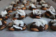 Holy EASY to make and what a great go-to for those sugary temptations in the afternoon!  Be careful to only bring 1 portion to work with you!  Dark Chocolate, Almond, & Coconut Candies.  Low Carb, Paleo, GF & Vegan.