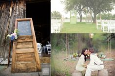 "Have a picturesque out door venue? Make a ""Photographer  sign-up board"" made from rustic door for guests to choose a time to meet at background location of their choice for their photos. Post for other guests to join in the pic!"
