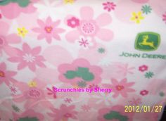 John Deere Pink Green Flowers Floral by Scrunchiesbysherry on Etsy 5991ede97