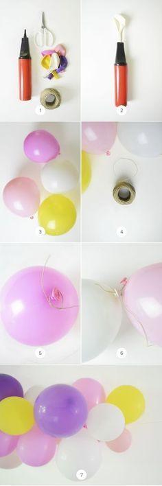 DIY: Easy Balloon Garland Design & DIY Inspiration for Home, Weddings, Parties Unicorn Birthday Parties, Unicorn Party, First Birthday Parties, Birthday Crafts, Birthday Ideas, Baloon Garland, Diy Garland, Party Garland, Illustration Tutorial