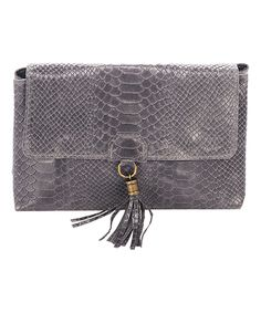 Love this Mila Blu Dark Gray Snake-Embossed Leather Crossbody by Mila Blu on #zulily! #zulilyfinds