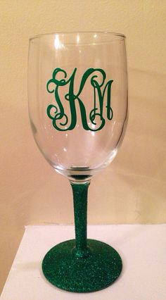 Monogram and Glitter wine glass on Etsy, $15.00