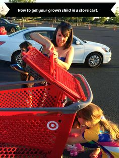 How to get a grown child in a store cart, the easy way!