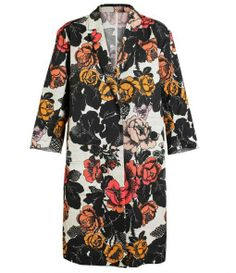 Floral Printed Cotton Twill Coat
