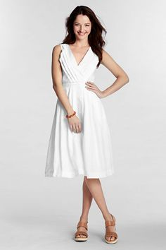 LE Linen Pleated V-Neck Dress, 4158228J7, $34.97