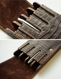 Leather Carving, Leather Art, Leather Design, Leather Tooling, Leather Wallet, Fountain Pen Ink, Leather Pattern, Pen Case, Leather Projects