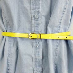 Skinny Yellow Belt, Size L, Forever 21 This is a simple yellow belt with gold hardware. It's 38 inches from end to end. Forever 21 Accessories Belts