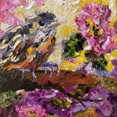 Brown Thrasher Baby Bird Impressionist Oil Knife Painting Original Georgia State…