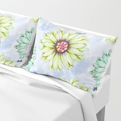 I'm an Early Bloomer Pillow Sham by Vikki Salmela, spring #daisies and #bees in a soft #pastel hand painted #design for #homedecor. Coordinating products available; #duvet covers, throw #blanket, wall #art #rugs and more!