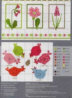 Cross Stitching Pattern Freebie Spring Summer Chicken / Kreuzstich Vorlage Sommer Frühling Huhn Hühner: