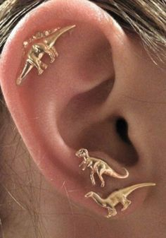 This adorable gold Dinosaurs stud earrings set features three different dinosaurs design. Mix and match or wear each pair solo, the options are endless with this trio. Buy here. | Lookbook Store